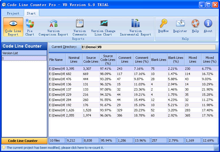 Click to view Code Line Counter Pro - VB Version 4.4 screenshot